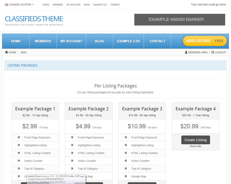 Customizable Listing Packages