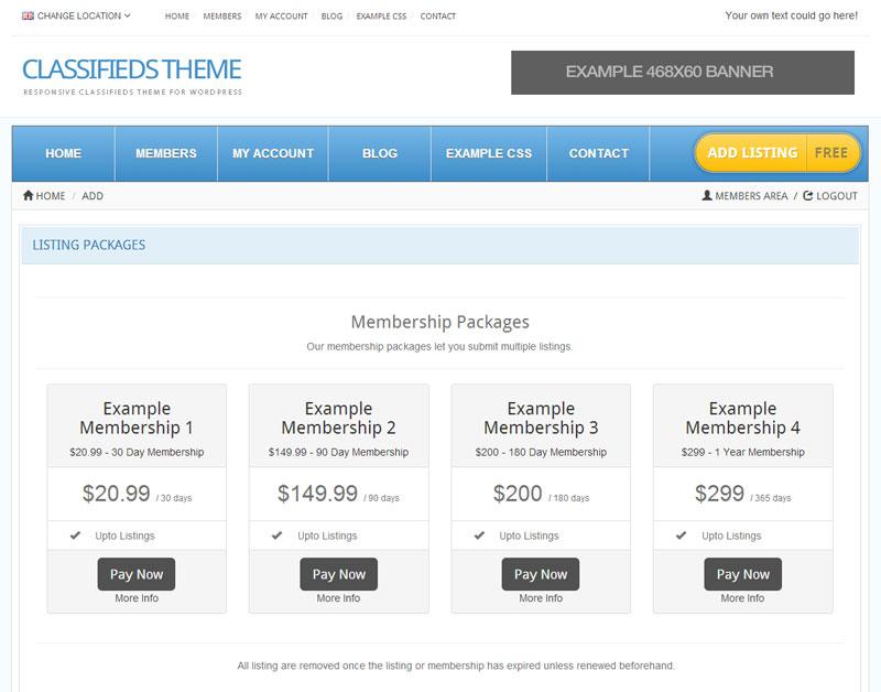 Customizable Membership Packages