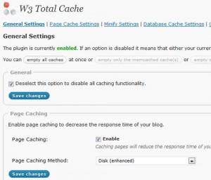 W3 Total Cache WordPress Plugin screen
