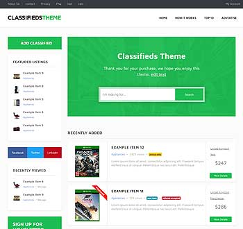 Classifieds Theme live demo