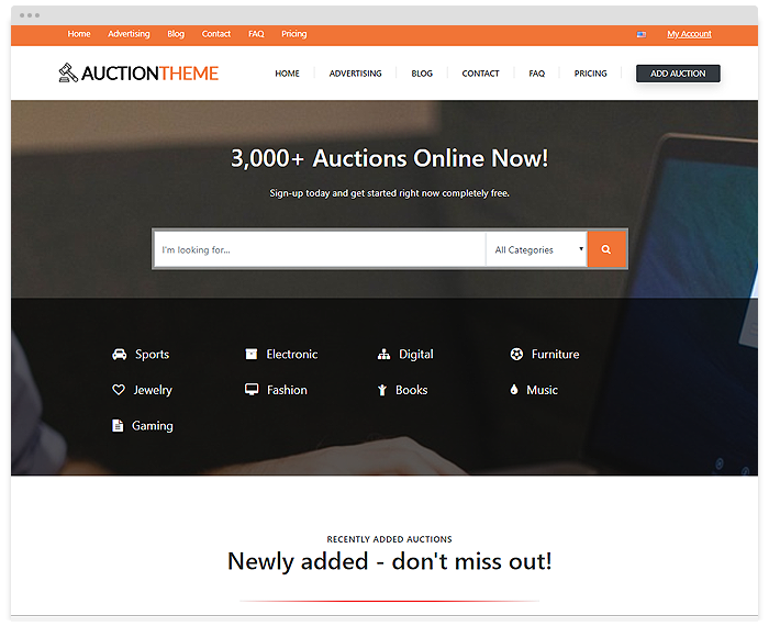 Auction – Orange demo