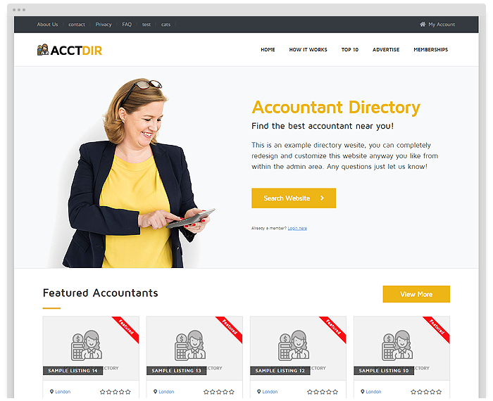 Accountant Directory Theme demo