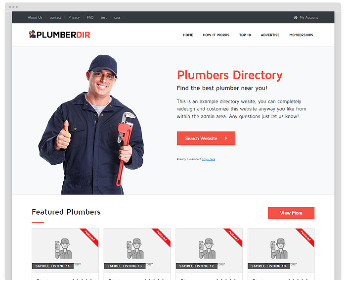 Plumber Directory Theme demo
