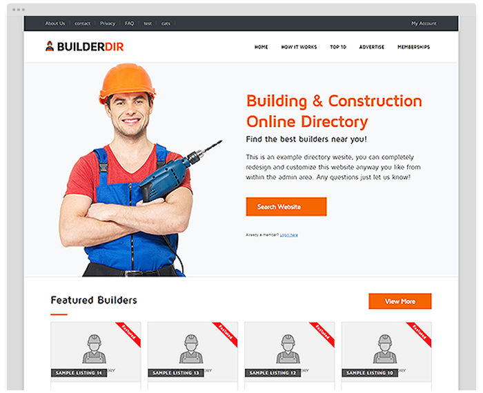 Construction Directory Theme demo