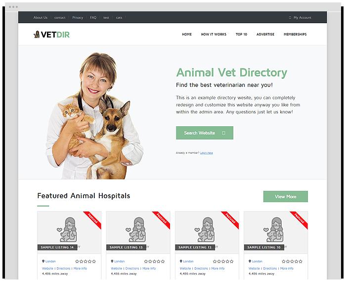 Vet Directory Theme demo